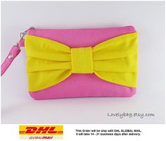 SUPER SALE  Pink with Yellow Bow Clutch  Bridal by LovelyBag, $9.90