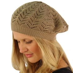 Light Soft Thin Summer Vent Cut Out Stretch Knit Beret Beanie Hat Cap Tam Taupe #DY #Beret