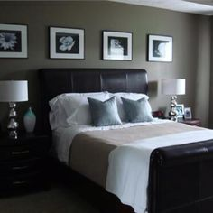 Our same bed, love the look of b&w pics above with the white comforter.