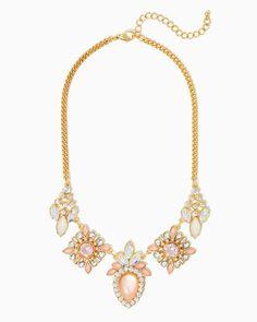 Clarissa Cluster Bib Necklace | UPC: 450900458270 Bold Blush, Light Pink, Coral, COTM