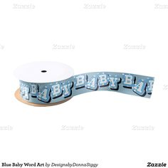 Blue Baby Word Art Blank Ribbon