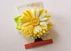 Chrysanthemum Felt Flower Hair Clip in Lemon Yellow - You Choose the Backing by PrettyinPosies on Etsy
