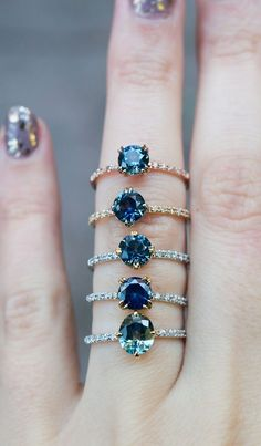 Unique Sapphire Engagement Rings by S. Kind & Co. Available for last minute vacation suggestions! Unique Sapphire Engagement Rings by S. Kind & Co. Available for last minute vacation suggestions! Ring Set, Ring Verlobung, Pretty Rings, Beautiful Rings, Cute Jewelry, Jewelry Accessories, Jewelry Rings, Unique Rings, Ring Designs