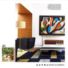 SHIVAN & NARRESH H O M E S | Signature colour-blocking translates into soft furnishings while materials like wood contrast boldly with pristine ivory walls that play canvas to art amidst a spatial story dominated by clean lines | Discover the first #ShivanAndNarresh Home project featured in @ArchDigestIndia photographed by @BjornWallander | #Interiors #Spaces #InteriorDesign #FashionHomes