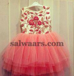 Peach Color Thread Work Frock Gowns For Girls, Frocks For Girls, Girls Party Dress, Little Girl Dresses, Girls Dresses, Kids Party Wear, Kids Wear, Girls Designer Dresses, Kids Lehenga