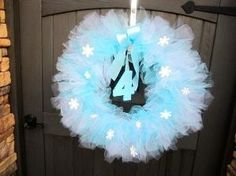 Frozen Inspired Tutu Wreath, Frozen Party Decoration, Blue and White Wreath, Tulle Wreath, Princess Elsa by sadie