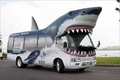 free Shark bus from downtown Auckland to Kelly Tarltons Sea Life Aquarium - Auckland, New Zealand Megalodon, Weird Cars, Cool Cars, Tour Bus, Shark Bait, Shark Shark, Bizarre, Great White Shark, Unique Cars