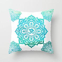 Mandala Throw Pillow Cover Aqua Teal Watercolor Om Yoga Pillow Meditation Pillow Mandala Home Decor Decorative Pillow Cover Home Decor Gift