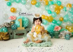 Mint and gold first birthday smash cake photoshoot with adorable baby girl. Mint and gold | first birthday | cake smash | photo | theme | ideas | girl | messy | one | nj photographer | balloons | party | my work | baby |