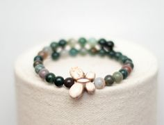 Butterfly Memory Wire Bracelet - Wrap Bracelet - Natural Stone Healing - India Agate and Howlite Beads - Gift for Her - Stocking Stuffer