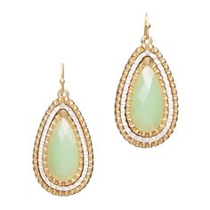 """These teardrop shaped earrings feature a large light mint green faceted stone set in three alternating rows of gold and silver. Casual elegance make these earrings work for weekday through the weekend. Price $22  - Goldtone and silvertone metal, faceted resin  - 1 1/2"""" long  - French ear wire"""