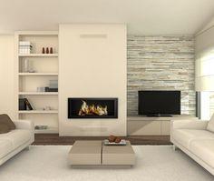 38 Trendy Home Decored Ideas Living Room Fireplace Basements Minimalist Fireplace, Linear Fireplace, Fireplace Built Ins, Home Fireplace, Living Room With Fireplace, Fireplace Design, Minimalist Decor, Fireplace Stone, Fireplace Ideas