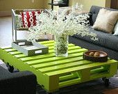 Lime Green Modern Coffee Table. Made of reclaimed pallet wood. ]