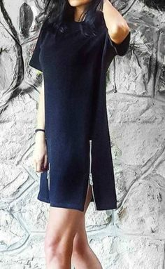 Round Neck Short Sleeve Solid Mini Dress
