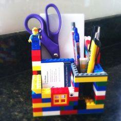 DIY Desk Organization – Everyone is a kid at heart do it with Lego for a bit of fun! Lego Desk, Lego Room, Legos, Diy Desktop Organizer, Deco Lego, Desk Organization Diy, Organizing Ideas, Lego Activities, Lego Craft