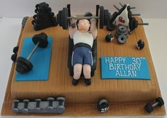 63 Ideas Birthday Cake For Husband Gym - birthday Cake White Ideen Birthday Cakes For Men, Birthday Cake For Husband, Happy 30th Birthday, Cakes For Boys, Birthday Cupcakes, Husband Cake, Fondant Cakes, Cupcake Cakes, Wrestling Cake