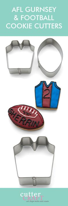 Football and jumper cookie cutter set - CutterCraft Football Cookie Cutter, Football Cookies, Cookie Cutter Set, 7th Birthday Cakes, Birthday Desserts, Baby Boy Birthday, Cake Decorating Piping, Cookie Decorating, Decorating Ideas