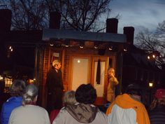 I saw this street performance of The Christmas Carol in Merchants Square in Williamsburg, Virginia evening of December 20, 2013.