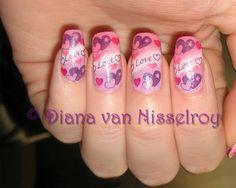 valentine nails done with konad