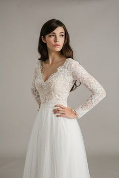 Long sleeve lace v-neck wedding gown