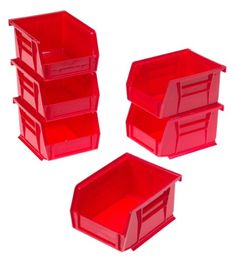 Akro-Mils 8212 Six Pack of 30210 Plastic Storage Stacking AkroBins for Craft and Hardware, Red