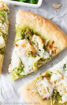 Roasted Garlic Chicken & Mozzarella Pizza with Homemade Basil Pesto