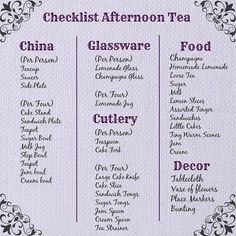 Checklist for Afternoon Tea