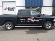 This truck for GP Bikes, recently done by Speedpro Imaging Oshawa. This is a 2014 Dodge Ram 1500 (black) with logo graphics on the D/P doors and rear gate. Digital print on 3M ij180Cv3 cast vinyl with 3M 8914 gloss laminate.  Need logo's for your vehicles? Call Speedpro today!