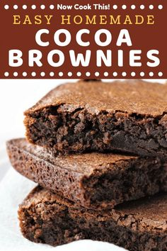 Brownie recipes 501095896043002544 - These Easy Homemade Cocoa Brownies are fudgy, moist, and chewy! All you need are a few staple ingredients and about 30 minutes. Get ready to ditch the box for good! Cocoa Powder Brownies, Cocoa Brownies, Chewy Brownies, Best Brownies, Fudge, Making Brownies, Gluten Free Brownies, Cake Like Brownies, One Bowl Brownies
