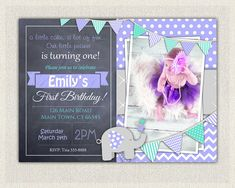 First Birthday Invitation Printable Download St Birthday - 1st birthday invitations girl purple