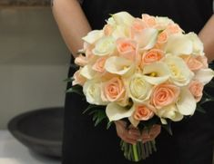 rose & calla lily wedding bridal bouquet peach/ white - Fairy Flowers - Wedding Flowers Specialist, Florists, Ringwood East, VIC, 3135 - TrueLocal