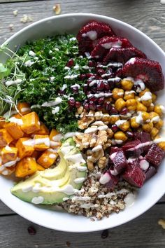 Turmeric Chickpea Buddha Bowl: Eat ALL the Superfoods! : Vegan buddha bowl with nutrient dense superfoods in a lemon tahini dressing vegan buddhabowl glutenfree hippiebowl nourishbowl mealplan mealprep turmeric chickpeas Turmeric Chickpea Buddha Lemon Tahini Dressing, Vegetarian Recipes, Healthy Recipes, Vegan Bowl Recipes, Beet Salad Recipes, Superfood Recipes, Easy Recipes, Clean Eating, Healthy Eating