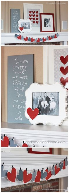 Valentine's Day Mantel by Landeelu. 25 Best Valentine's Day home decor ideas via A Blissful Nest.
