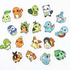 Pokemon Starter Stickers  Autocollants Pokemon par TamashiOhana