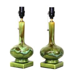 Pair MidCentury Lamps  Green Drip Glaze Pottery by retrosymphony, $295.00