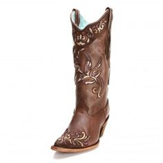 Corral Chocolate Bird Overlay Cowgirl Boots - Womens Corral Boots - Womens Boot Brands - Cowgirl Boots - Boots