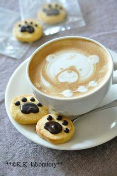 bear coffee! What a cute little design with bear print cookies too!