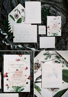 White wedding invitations with lovely florals illustrations