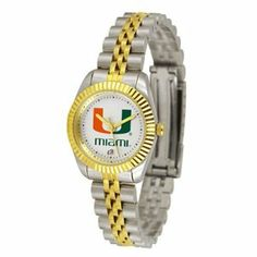 "Miami Hurricanes NCAA ""Executive"" Ladies Watch by SunTime. $157.95. Safety Clasp. Stainless Steel Case. Calendar Date Function. Two-Tone Solid Stainless Steel Band. 23kt Gold Plate Bezel. The ultimate fan's statement, our Executive timepiece offers men and women a classic, business-appropriate look. Features a 23kt gold-plated bezel, stainless steel case and date function. Secures to your wrist with a two-tone solid stainless steel band complete with safety clasp."