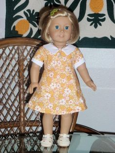 1930s Feedsack Dress for your American Girl Kit or Ruthie or other 18 inch doll. $15.50, via Etsy.