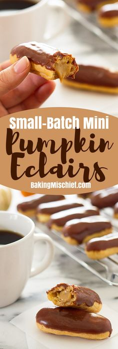 These cute and delicious Mini Pumpkin Eclairs are topped with chocolate glaze and filled with rich pumpkin pastry cream. Recipe includes nutritional information. From http://BakingMischief.com