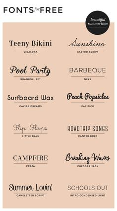 While working on a recent branding project for a wedding photographer, I put together a list of really pretty font combinations for her to choose from for her business card design. I'm still … for summer! We love the variety of styles this pin provides. Logo Inspiration, Inspiration Typographie, Calligraphy Fonts, Typography Letters, Cursive Fonts, Vintage Typography, Free Typography Fonts, Summer Typography, Handwritten Fonts