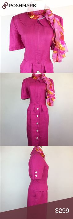 Vintage Valentino Linen Fitted Calf Length Dress Vintage Valentino Hot Pink Dress ! Calf length, zip up bodice, button down skirt, peter pan collar  fitted linen dress. Classic size 10 modern size 8. In beautiful vintage condition. Neiman Marcus Scarf included ! 🌺🍸💕 Valentino Dresses Midi