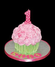 giant cupcake cake first birthday smash cake pink and green by Simply Sweets, via Flickr @Rachel Kearns