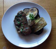 Lamb steaks with grilled aubergines and minted ricotta. London Eater, Steaks, Ricotta, Lamb, Mint, Food, Eggplant, Beef Steaks, Essen