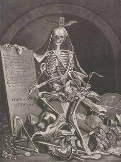The Rule of Death: OMNIA MIHI SUBDITA - 'Everything succumbs to Me' (c.1760 / Engraving / Etching) - Johann Jacob Ridinger, after Johann Elias Ridinger Skeleton Drawings, Skeleton Art, Art Drawings, Macabre Art, Danse Macabre, Vanitas, Memento Mori, Dance Of Death, Occult Art