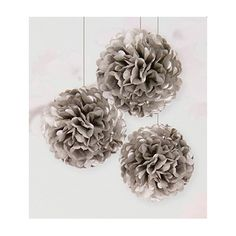 Large Silver Tissue Paper Pom Poms (pack of 3)
