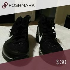 Sneakers Black with silver swish mid top like new Nike Shoes Sneakers
