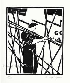 Trois nouvelles estampes d'Olivier Lapicque sont disponibles à la galerie. Elles traitent de la thématique (chère à l'artiste) des caseyeurs... Darth Vader, Carving, Architecture, Illustration, Fictional Characters, Triptych, Drift Wood, Olive Tree, Prints