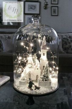 Christmas cloche Idea - Church with fairly lights and snow.